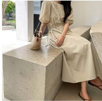 RONIEL Dresses Casual Style A-line Flared Cropped Plain Long Short Sleeves 7
