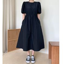 RONIEL Dresses Casual Style A-line Flared Cropped Plain Long Short Sleeves 8