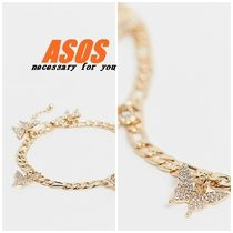 ASOS Asos Design Anklet With Butterfly Charms In Gold Tone