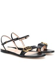 GUCCI GG Marmont Casual Style Street Style Plain Leather Logo Sandals