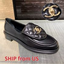 CHANEL ICON Plain Toe Round Toe Casual Style Plain Leather Party Style