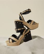 FURLA Casual Style Leather Block Heels Party Style Sandals