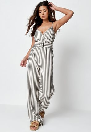Missguided Dresses Stripes Casual Style Sleeveless Street Style V-Neck Cotton