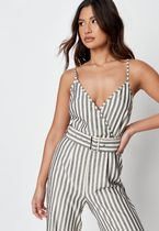 Missguided Stripes Casual Style Sleeveless Street Style V-Neck Cotton