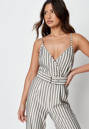 Missguided Dresses Stripes Casual Style Sleeveless Street Style V-Neck Cotton 2