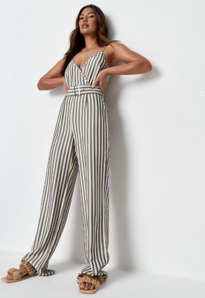 Missguided Dresses Stripes Casual Style Sleeveless Street Style V-Neck Cotton 3