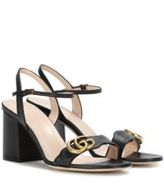 GUCCI GG Marmont Casual Style Street Style Plain Leather Logo Heeled Sandals
