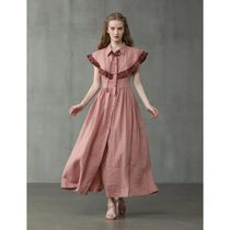 Linennaive Casual Style Maxi A-line Wool Linen Flared Bi-color Plain