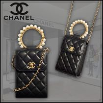 CHANEL CHAIN WALLET Casual Style Calfskin Blended Fabrics 2WAY 3WAY Chain Plain