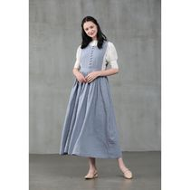 Linennaive Dungarees Casual Style Maxi A-line Linen Sleeveless Flared