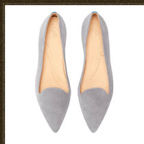 Chatelles Rubber Sole Suede Plain Leather Logo Pointed Toe Shoes