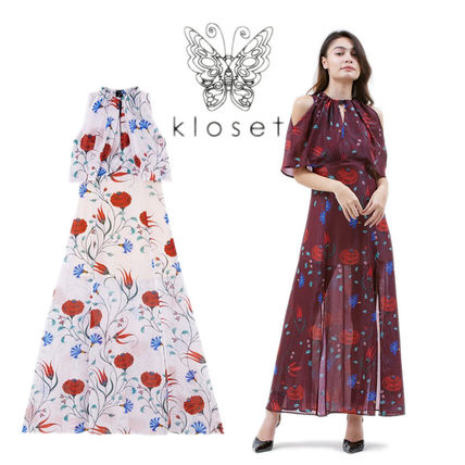 Kloset Dresses Tropical Patterns Casual Style Maxi Sleeveless Flared Long