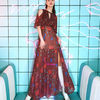 Tropical Patterns Casual Style Maxi Sleeveless Flared Long