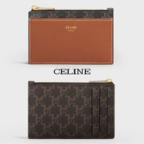 CELINE Zipped Card Holder In Triomphe Canvas And Lambskin