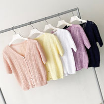 Cable Knit Casual Style Street Style Plain Short Sleeves