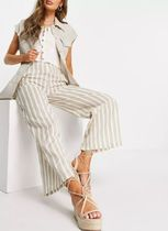 New Look Stripes Casual Style Cotton Oversized Pants