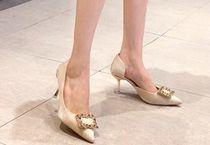 Square Toe Casual Style Faux Fur Plain Pin Heels With Jewels