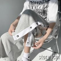 Sweat Street Style Bi-color Oversized Cropped Pants