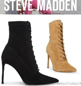Steve Madden More Boots Rubber Sole Casual Style Studded Street Style Leather