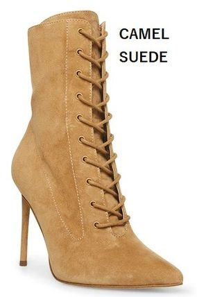 Steve Madden More Boots Rubber Sole Casual Style Studded Street Style Leather 3