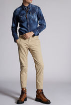 D SQUARED2 Tapered Pants Street Style Plain Cotton Logo Tapered Pants