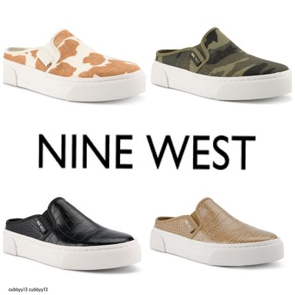 Nine West Low-Top Rubber Sole Casual Style Studded Street Style Leather