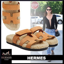HERMES Casual Style Suede Street Style Plain Elegant Style Logo