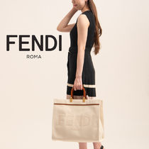 FENDI Casual Style Canvas A4 Plain Leather Party Style