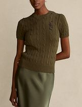 POLO RALPH LAUREN Cable Knit Short Rib Plain Cotton Short Sleeves Cropped