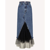 RED VALENTINO Dots Casual Style Denim Blended Fabrics Plain Long