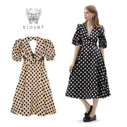 Kloset Dresses Dots Casual Style A-line Flared V-Neck Medium Puff Sleeves