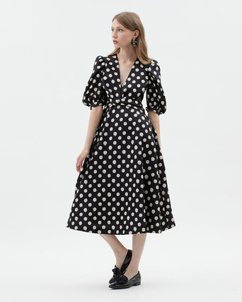 Kloset Dresses Dots Casual Style A-line Flared V-Neck Medium Puff Sleeves 3