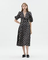Kloset Dresses Dots Casual Style A-line Flared V-Neck Medium Puff Sleeves 4