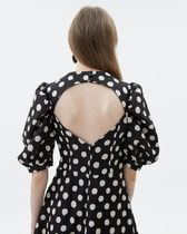 Kloset Dresses Dots Casual Style A-line Flared V-Neck Medium Puff Sleeves 5