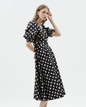 Kloset Dresses Dots Casual Style A-line Flared V-Neck Medium Puff Sleeves 6