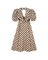 Kloset Dresses Dots Casual Style A-line Flared V-Neck Medium Puff Sleeves 8