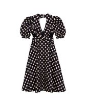 Kloset Dresses Dots Casual Style A-line Flared V-Neck Medium Puff Sleeves 9