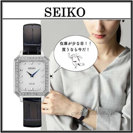 SEIKO Analog Casual Style Leather Square Quartz Watches Stainless