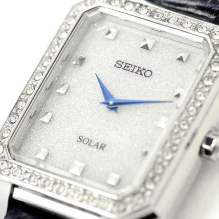 SEIKO Analog Casual Style Leather Square Quartz Watches Stainless 3