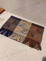 LOEWE Other Plaid Patterns Wool Cashmere Logo Scarves