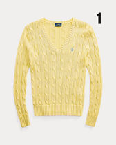 POLO RALPH LAUREN Cable Knit Short Casual Style V-Neck Long Sleeves Plain