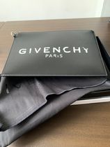 GIVENCHY Unisex Street Style Leather Logo Clutches