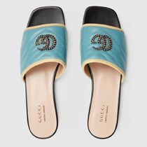 GUCCI GG Marmont Open Toe Platform Casual Style Plain Leather Shower Shoes
