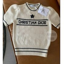 Christian Dior Crew Neck Short Star Casual Style Wool Cashmere