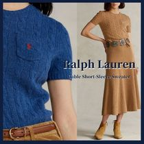 POLO RALPH LAUREN Crew Neck Casual Style Wool Cashmere Plain Short Sleeves