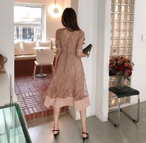 A-line Flared U-Neck Medium Long Short Sleeves Party Style
