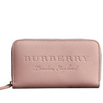 Burberry Other Plaid Patterns Blended Fabrics Leather Long Wallet