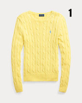 POLO RALPH LAUREN Crew Neck Cable Knit Short Casual Style Long Sleeves Plain