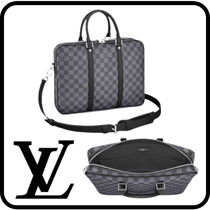 Louis Vuitton PDV Other Plaid Patterns Unisex Street Style A4 Leather Logo
