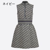 Christian Dior DIOR OBLIQUE A-line Sleeveless Flared Party Style Elegant Style
